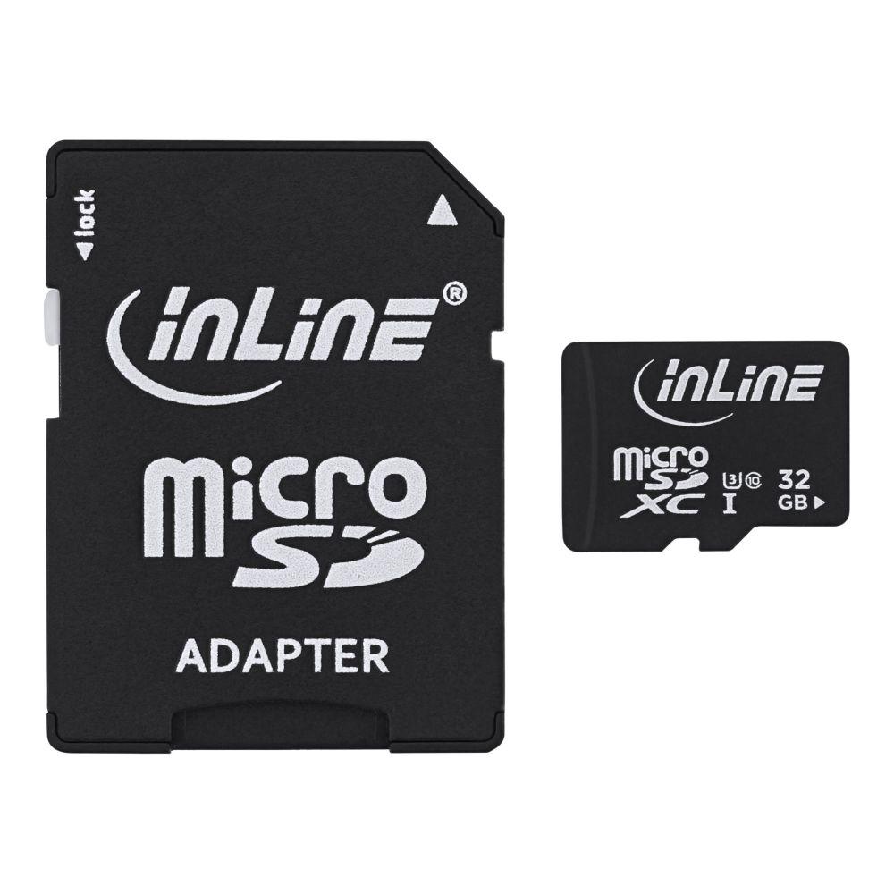 InLine® Scheda di memoria MicroSDXC con adattatore SD, Classe 10/U3, 32 GB