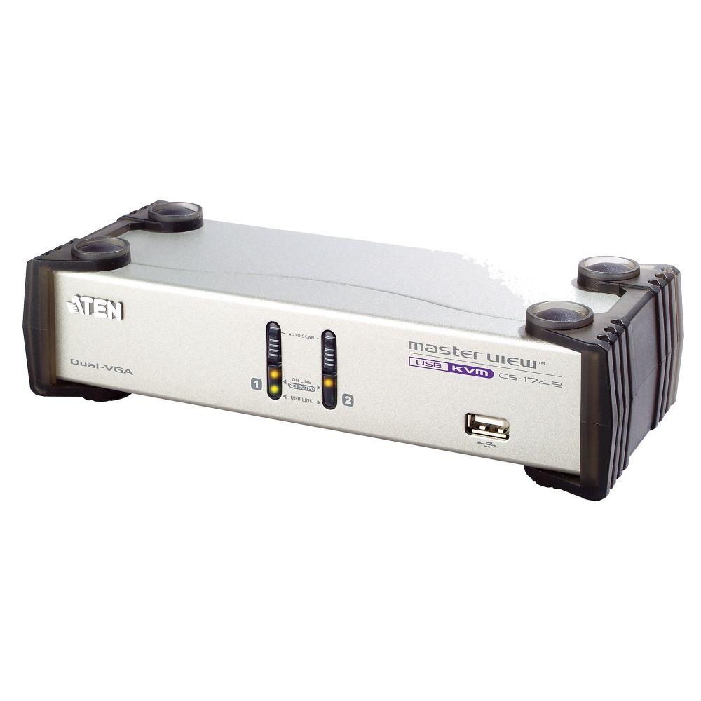 Aten CS1742C, KVM Switch, 2 porte, USB VGA Dual View, Audio, Hub USB 2.0, Kit cavi inclusi