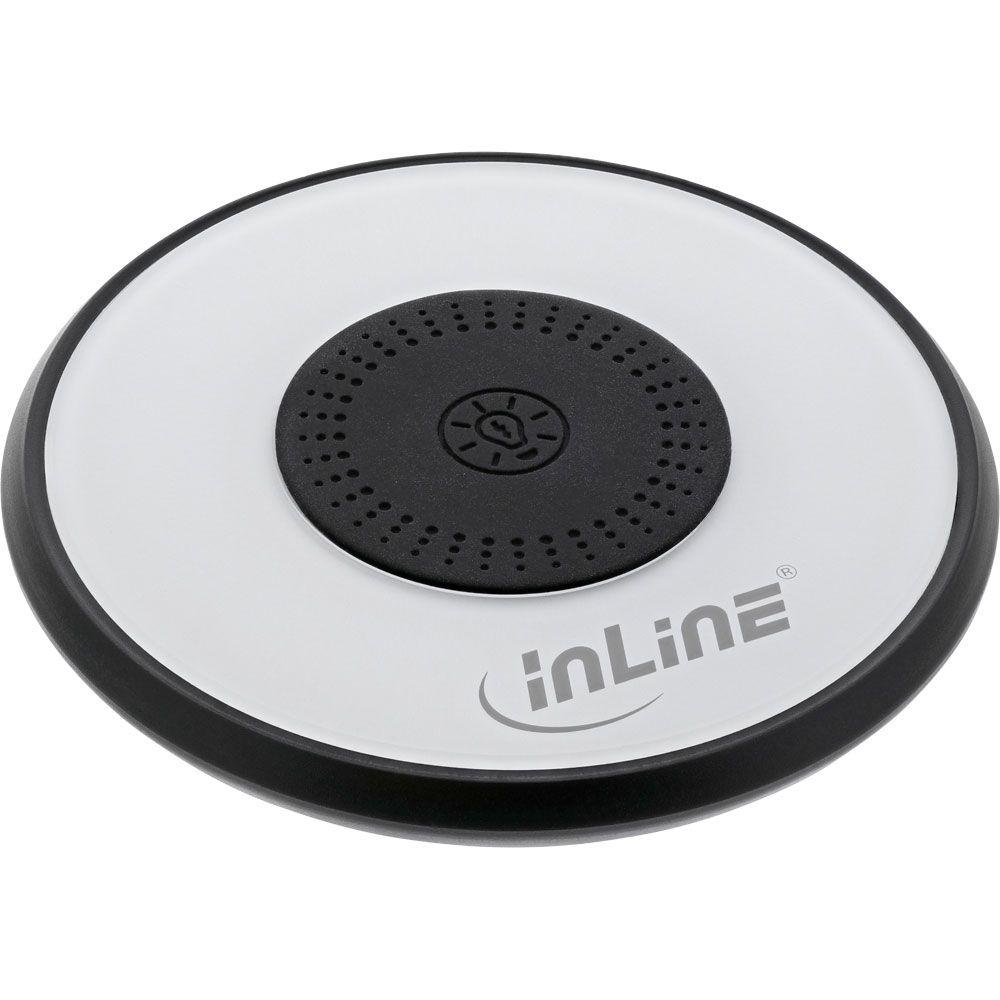 InLine® Qi charge light, caricabatterie rapido wireless per smartphone, 5/7,5/10W, con illuminazione a LED