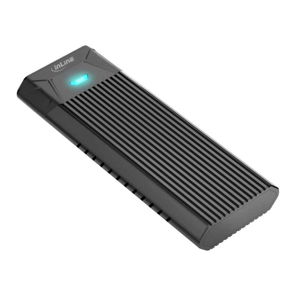 InLine® USB3.2 Gen.2 USB-Typ C zu M.2 SSD (PCIe NVMe & SATA)Gehäuse, werkzeugfrei