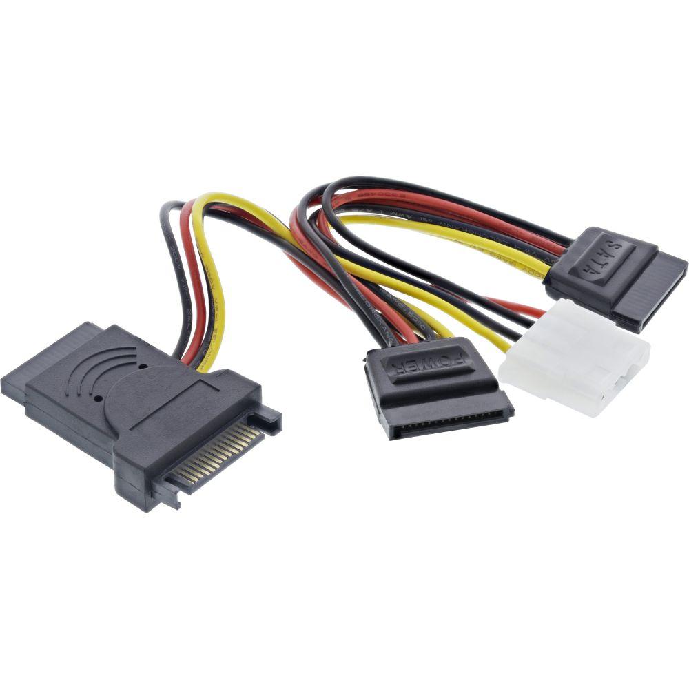 InLine® Cavo alimentazione interna da SATA 15 pin maschio a 3x SATA 15 pin femmina + 4 pin IDE/PATA ( 5,25'' ) femmina, 0,15m