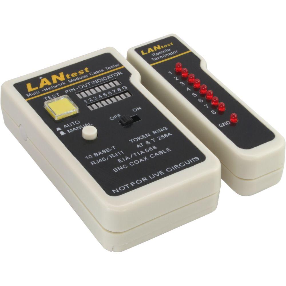 InLine® Tester per cavi e cablaggi LAN (RJ45), Coax (BNC), ISDN/Telefonici ( RJ45/RJ11), Indicatore a 9 Led