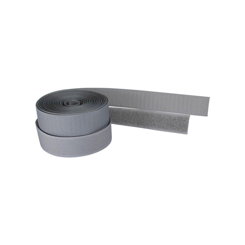 InLine® Banda in velcro tagliabile a misura, rotolo da 3m, larghezza 25mm, grigio