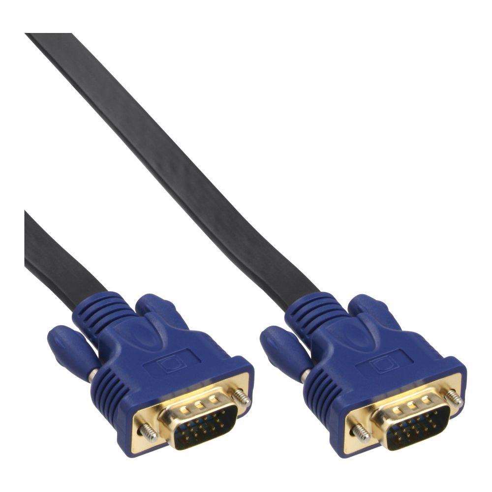 InLine® Cavo piatto S-VGA, maschio-maschio HD a 15pin, nero, 7,5m