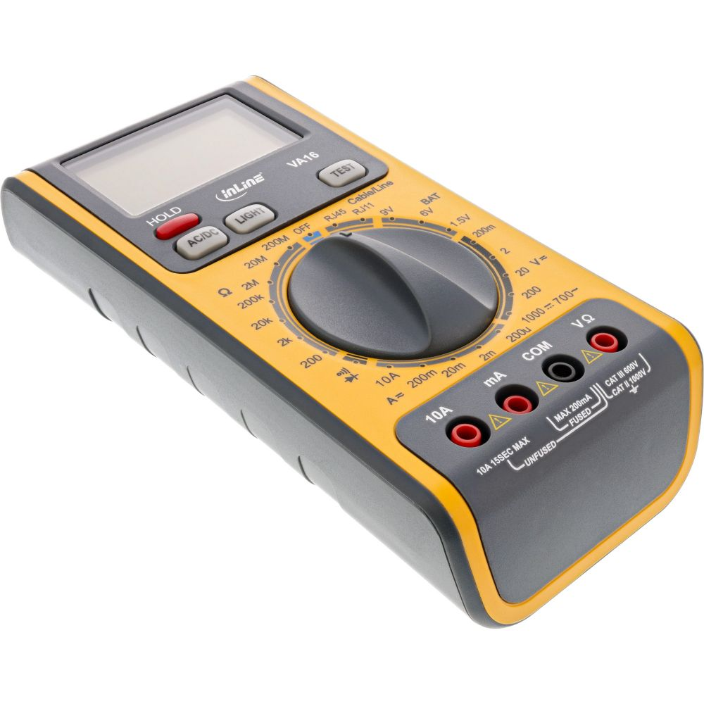 InLine® Multimetro digitale 3-in-1 con tester per cavi RJ45, RJ11 e tester per batterie integrato. Sicurezza CAT II 1000V / CAT III 600V IEC1010-1