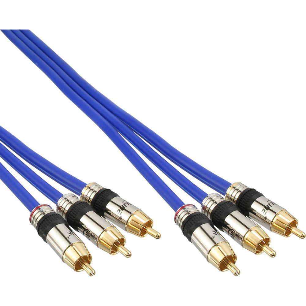 InLine® Cavo Audio / Video 3x RCA maschio / maschio, 0,5m, schermato, dorato, PREMIUM