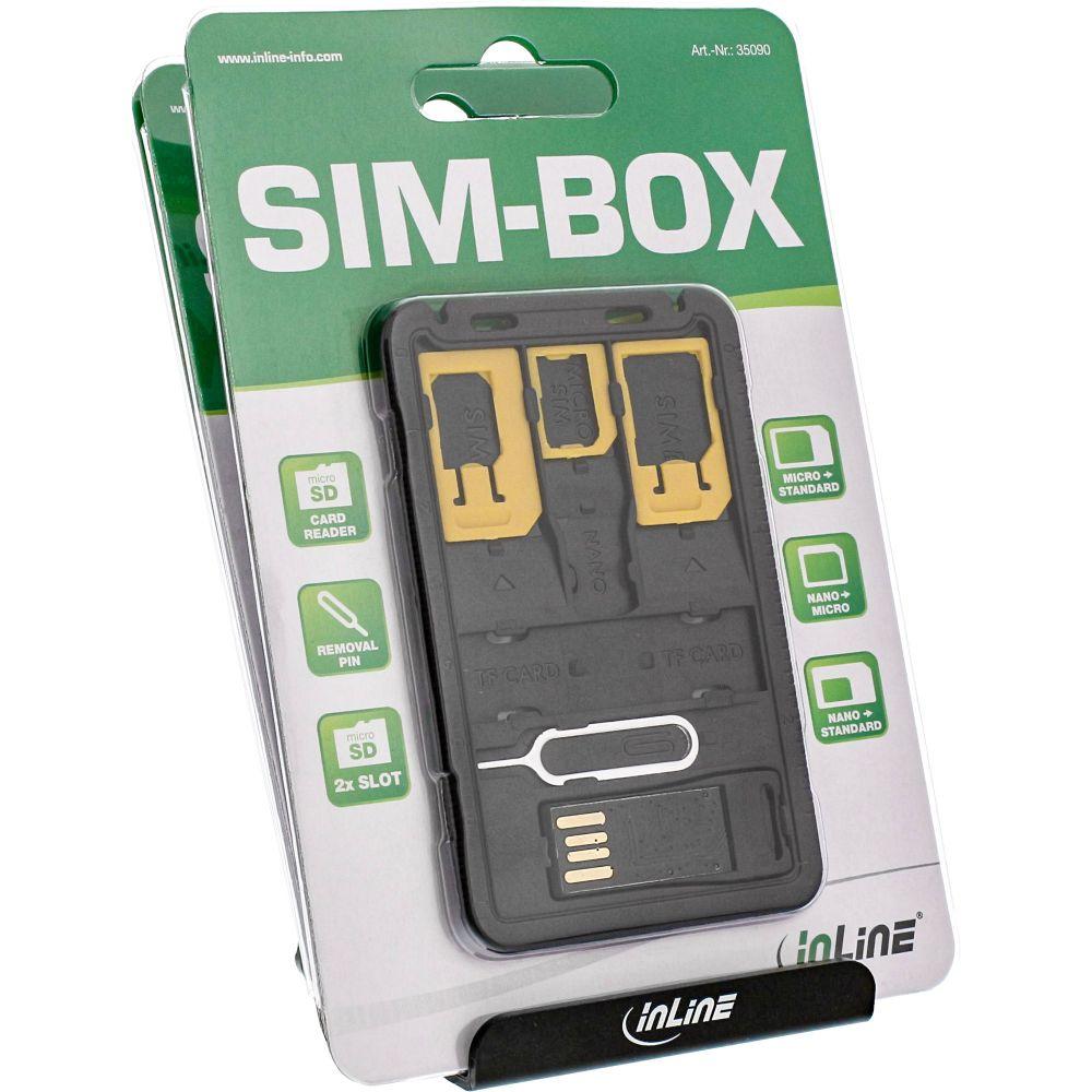 InLine® SIM-BOX, contenitore per stoccaggio e trasporto moduli SIM, SD con adattatori e Removal-Pin con espositore da banco ( 10x Sim-Box)