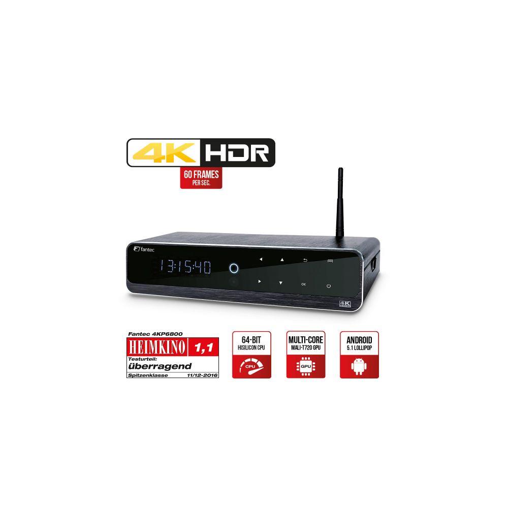 Media Player Android Smart TV, 4K HDR & 3D, HDMI & USB 3.0, Alluminio, LCD-Display, Fantec 4KP6800