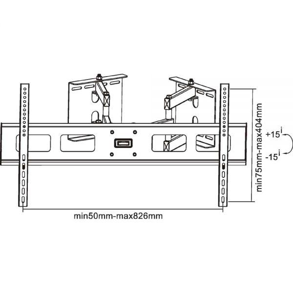 Inline supporto tv parete 94 160cm 37 63 60kg per - Montaggio tv a parete ...