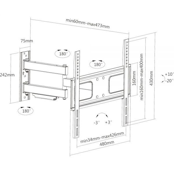 Inline supporto tv parete 81 140cm 32 55 50kg distanza - Montaggio tv a parete ...